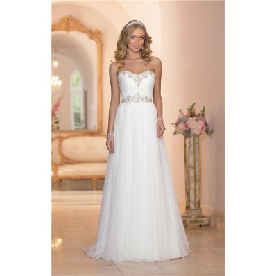 Gorgeous A Line Strapless Chiffon Crystal Beaded Wedding Dress Court Train