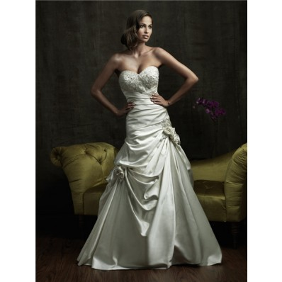 Gorgeous A Line Sweetheart Ivory Satin Wedding Dress With Embroidery Beading Flowers