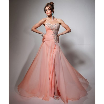 Gorgeous A Line Sweetheart Long Peach Chiffon Beading Evening Prom Dress