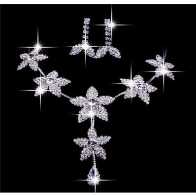 Gorgeous Alloy Elegant Rhinestone Wedding Jewelry Set Including Necklace,Earrings