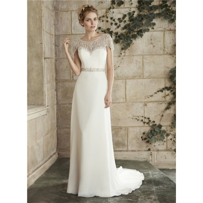 Gorgeous Sheath Bateau Neck Illusion Back Chiffon Crystal Wedding Dress Cap Sleeves