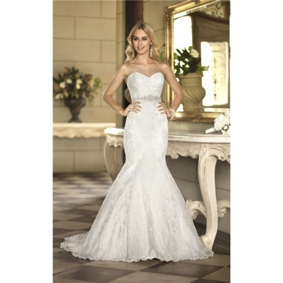 Gorgeous Trumpet Mermaid Sweetheart Vintage Lace Wedding Dress With Crystals Sash