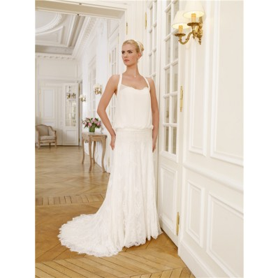 Halter Chiffon Lace Bohemian Casual Beach Wedding Dress With Buttons