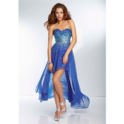 High Low Sweetheart Royal Blue Chiffon Beaded Sparkly Beach Party Prom Dress