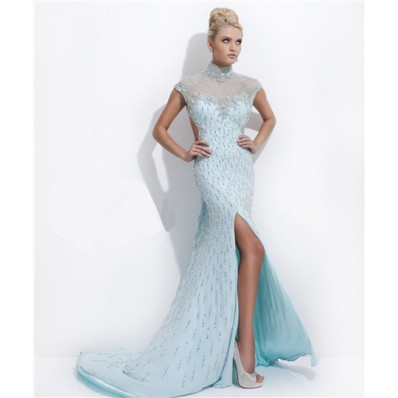 High Neck Cap Sleeve Backless Long Baby Blue Chiffon Beaded Evening Prom Dress Open Back
