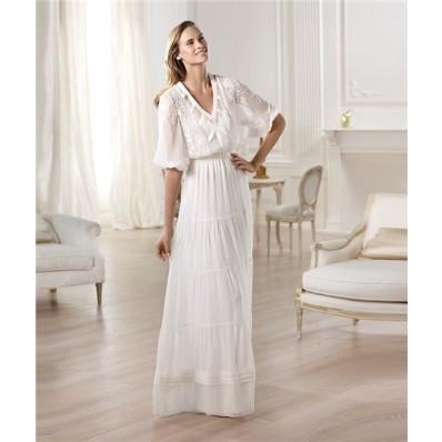 Informal Casual Sheath V Neck Short Sleeve Chiffon Garden Beach Wedding Dress