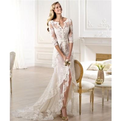 Informal Sheath V Neck High Low Front Slit Lace Wedding Dress With Sleeve