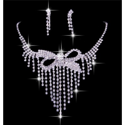 Luxurious Shining Rhinestones Wedding Bridal Jewelry Set,Including Necklace And Earrings
