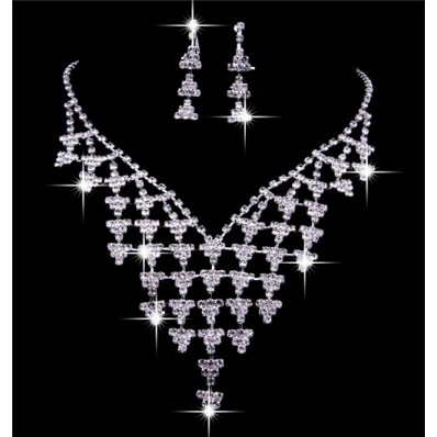 Luxurious Shining crystal Wedding Bridal Jewelry Set,Including Necklace And Earrings