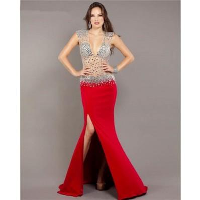 Mermaid Deep V Neck Open Back Red Chiffon Sheer Tulle Beaded Prom Dress