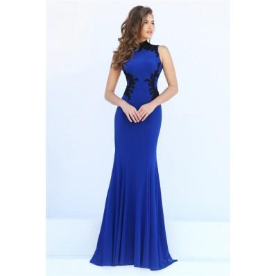 Mermaid Hight Neck Sheer Back Royal Blue Jersey Black Lace Evening Prom Dress