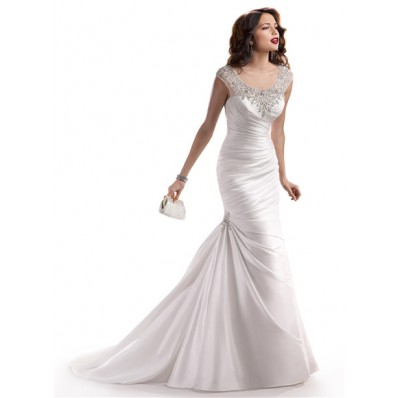 Mermaid Illusion Bateau Neck Tulle Satin Wedding Dress With Sparkle Crystal