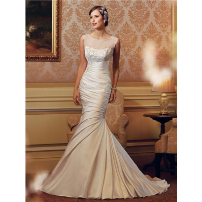 Mermaid Illusion Neckline Ruched Satin Embroidered Wedding Dress Sheer Back Buttons