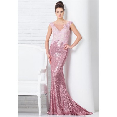 Mermaid Illusion Neckline Sheer Back Pink Lace Sequin Long Occasion Evening Prom Dress