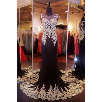 Mermaid Illusion Scoop Neck Black Chiffon Gold Lace Applique Prom Dress