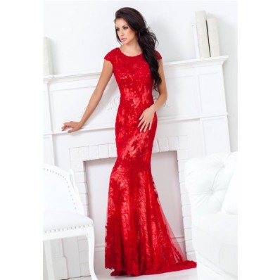 Mermaid Scoop Neck Cap Sleeve Open Back Long Red Lace Beaded Evening Prom Dress