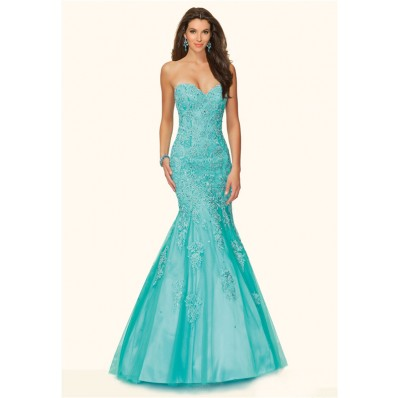 mermaid strapless corset back aqua tulle lace beaded prom