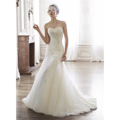 Mermaid Strapless Satin Organza Embroidery Beaded Crystal Wedding Dress