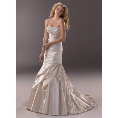 Mermaid Strapless Scoop Neckline Champagne Color Satin Wedding Dress Corset Back