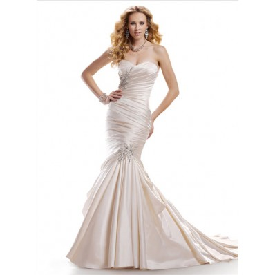 Mermaid Sweetheart Champagne Satin Fit And Flare Wedding Dress With Ruching Beading