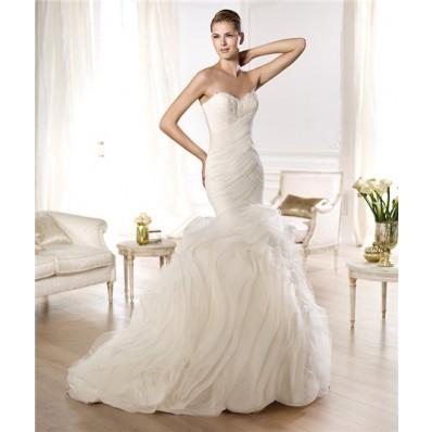 Mermaid Sweetheart Feather Neckline Criss Cross Pleated Organza Wedding Dress With Ruffles