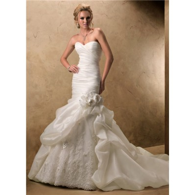 Mermaid Sweetheart Ivory Organza Lace Wedding Dress With Detachable Flowers Strap