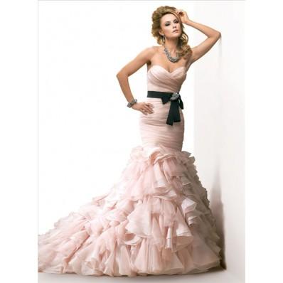 Mermaid Sweetheart Layered Blush Pink Organza Wedding Dress With Black Sash