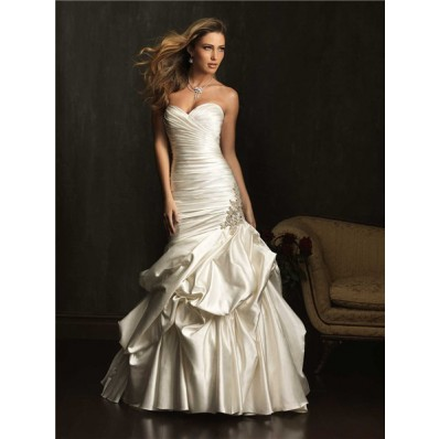 mermaid sweetheart satin ruched fit and flare wedding