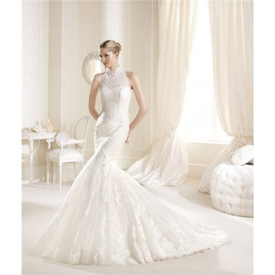 Mermaid Trumpet High Neck Sleeveless France Lace Wedding Dress With Buttons