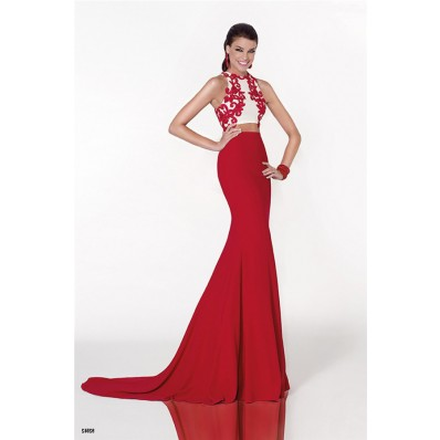 Mermaid Two Piece Red Jersey Embroidery Formal Occasion Evening Dress