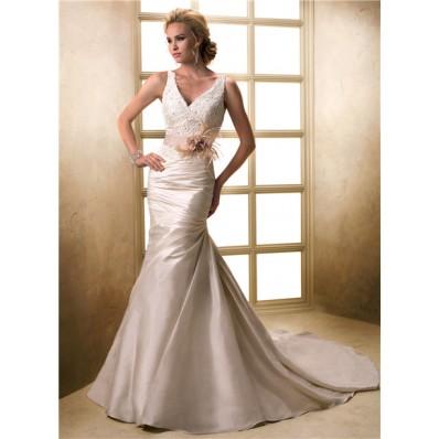 mermaid v neck corset back champagne lace satin wedding