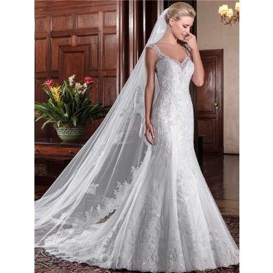 Mermaid V Neck Sheer Illusion Back Vintage Lace Beaded Wedding Dress