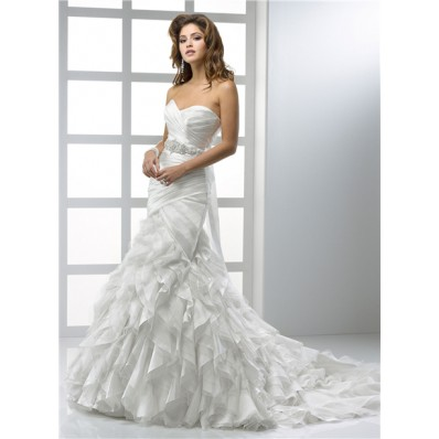 Modern Mermaid Sweetheart Organza Wedding Dress With Ruffles Crystal Belt