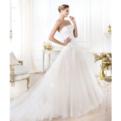 Modern Princess A Line Strapless Beaded Sequin Lace Tulle Wedding Dress
