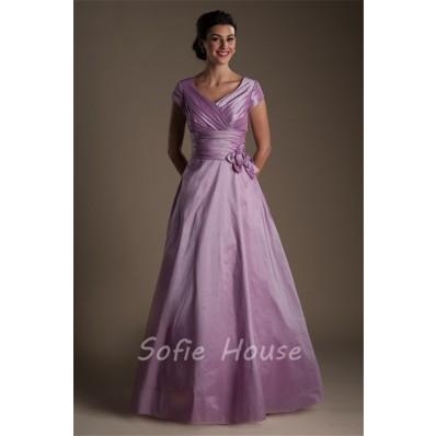 Modest A Line Sleeve Long Lilac Taffeta Evening Prom Dress With Flowers