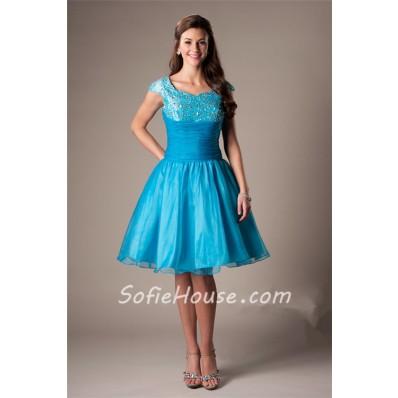 Modest Ball Gown Sweetheart Cap Sleeve Short Aqua Organza Beaded Homecoming Prom Dress