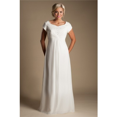 Modest Empire Waist Chiffon Beaded Destination Beach Wedding Dress With Sleeves