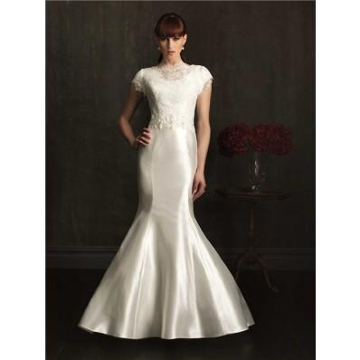 Modest Fitted Mermaid High Neck Cap Sleeve Taffeta Beaded Lace Wedding Dress