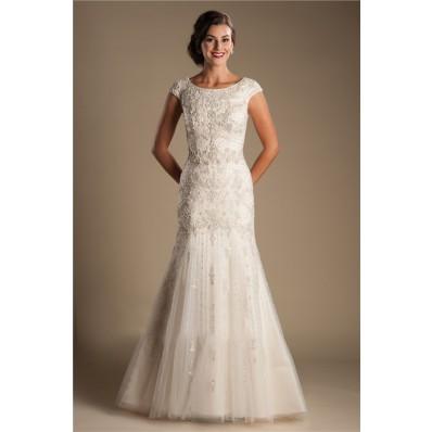 Modest Mermaid Boat Neck Cap Sleeve Tulle Embroidery Beaded Wedding Dress