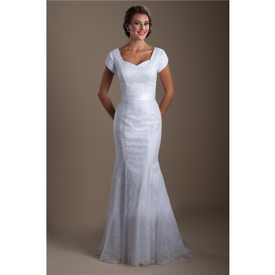 Modest Mermaid Queen Anne Neckline Lace Wedding Dress With Short Sleeves