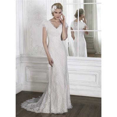 Modest Mermaid V Neck High Back Cap Sleeve Vintage Lace Wedding Dress