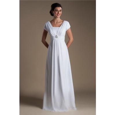 Modest Sheath Cap Sleeve Corset Back Chiffon Beaach Wedding Dress