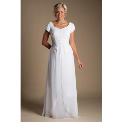 Modest Sheath Cap Sleeve White Chiffon Destination Beach Wedding Dress