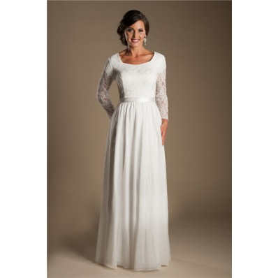 Modest Sheath Scoop Neck Long Lace Sleeve Chiffon Beach Garden Wedding Dress