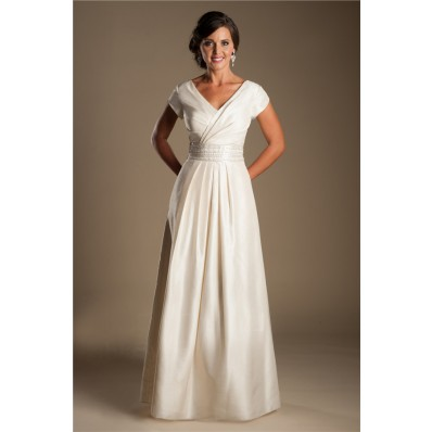 Modest Sheath V Neck Sleeve Dark Ivory Taffeta Draped Wedding Dress Without Train