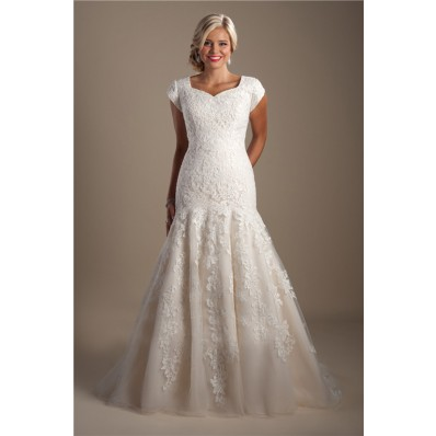 Modest Trumpet Mermaid Cap Sleeve Champagne Satin Lace Wedding Dress