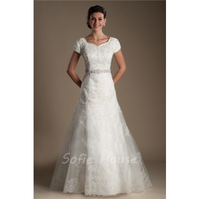 Modest Trumpet Sweetheart Sleeve Satin Lace Wedding Dress Detachable Crystals Sash
