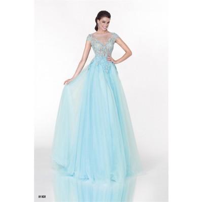 Princess A Line Illusion Neckline Cap Sleeve Light Blue Tulle Prom Dress