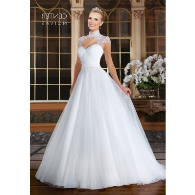Princess A Line Open Front Cap Sleeve Tulle Beaded Wedding Dress With Collar