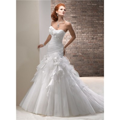 Princess A Line Scoop Neckline Tulle Organza Wedding Dress With Ruffle